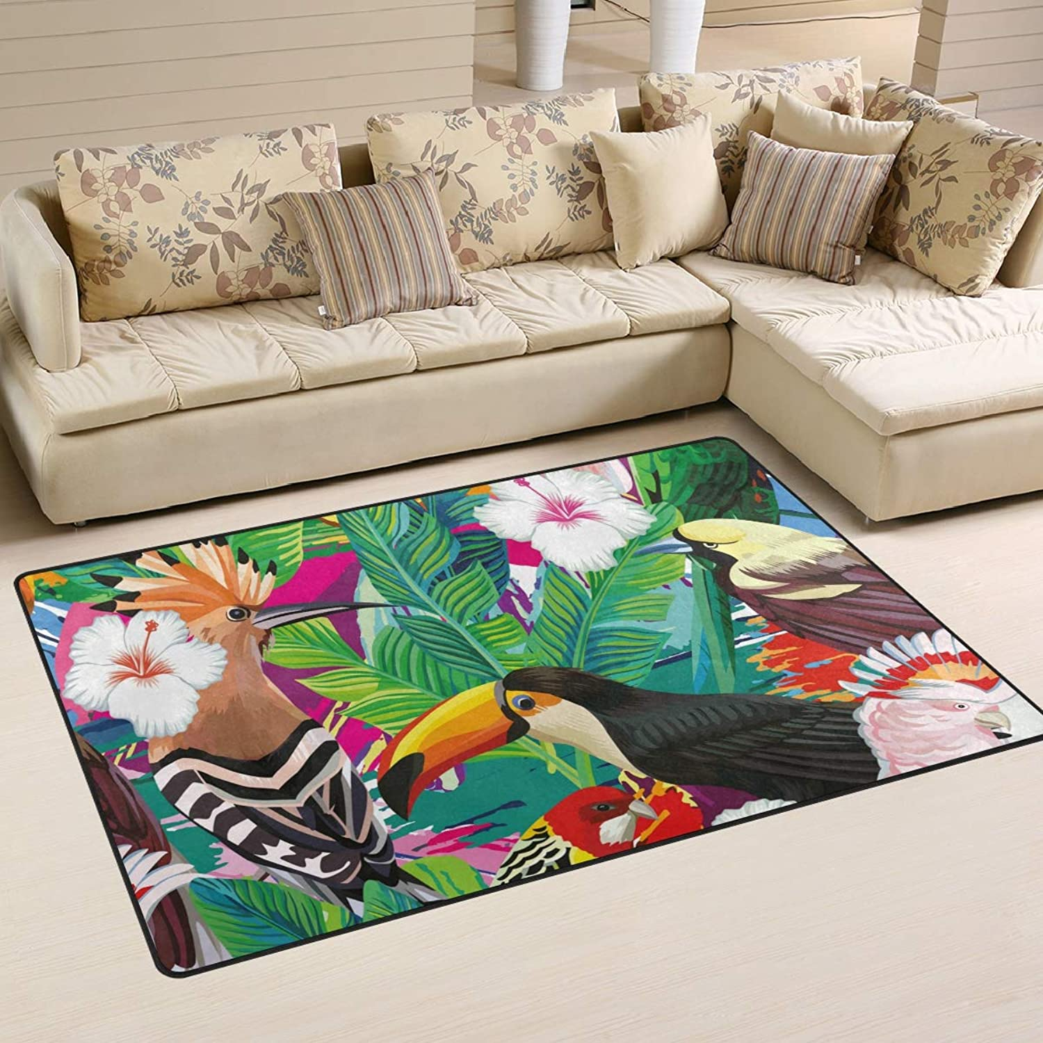 Area Rugs Doormats Tropical colorful Bird 5'x3'3 (60x39 Inches) Non-Slip Floor Mat Soft Carpet for Living Dining Bedroom Home