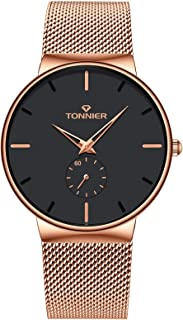 Tonnier Stainless Steel Slim Men Watch with Hollow Watch Hands Independent Second Hand Dial