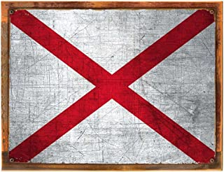 Wood-Framed Alabama State Flag Metal Sign, Americana, Rustic Décor on reclaimed, rustic wood