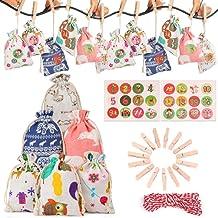 Factorys 1-24 Bolsa de regalo de lino de algodón con calendario de Adviento, bolsa de regalo de dulces con patrón de Navidad, bolsa de regalo de yute para cumpleaños, bodas, año nuevo (24 piezas)