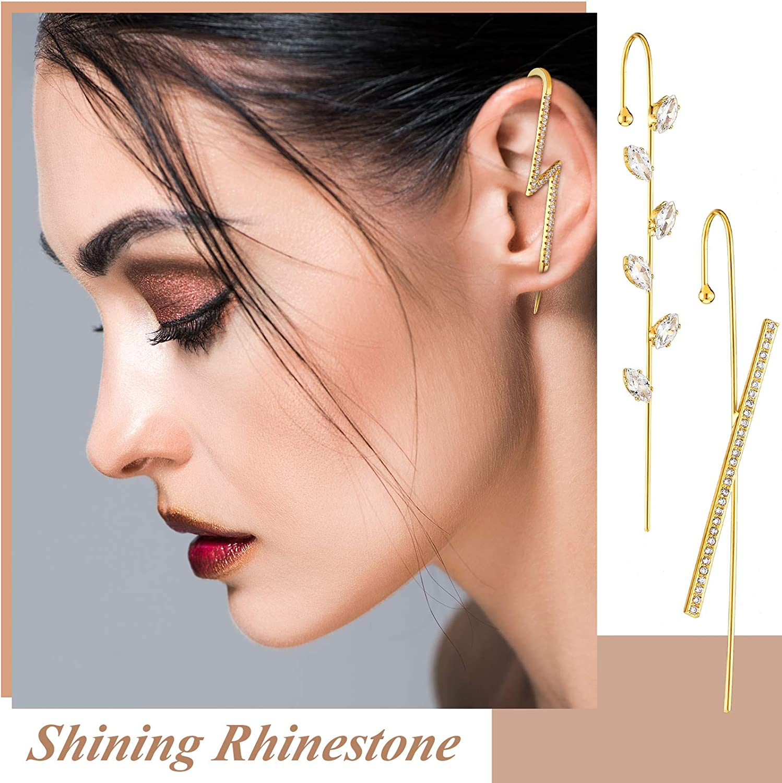 10PiecesEar Cuff Wrap Crawler Hook Earrings Faux Pearl CubicZirconia Rhinestone Ear Crawler Earrings for Women Girls, Gold
