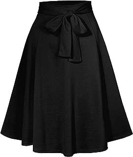 Womens High Waisted Flared Knee Length Self Tie Belt A Line Midi Skirt