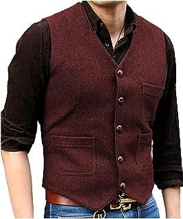 PrettyGirl Dress Men's V Neck Wool Herringbone Tweed Casual Waistcoat Business Suit Vest