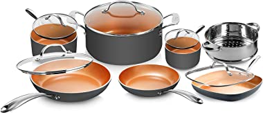 Gotham Steel Pots and Pans Set 12 Piece Cookware Set with Ultra Nonstick Ceramic Coating by Chef Daniel Green, 100% PFOA Free