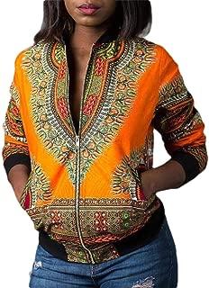 Macondoo Womens Sports Africa Dashiki Baseball Collar Print Coat Jackets