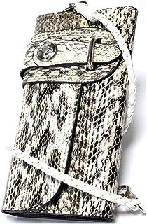 [Berkut][上質スネークレザー] 本革 いかつい 三つ折り長財布 ウォレットチェーン付き