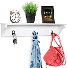 """Greenco Entryway Wall Mounted Floating Shelf with Hooks, Hat and Coat Hanging Wooden Storage Shelf, 24"""" – White"""