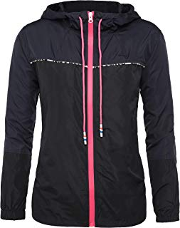 DOSWODE Women's Waterproof Raincoats Packable Lightweight Outdoor Hooded Rain Jacket Windbreaker