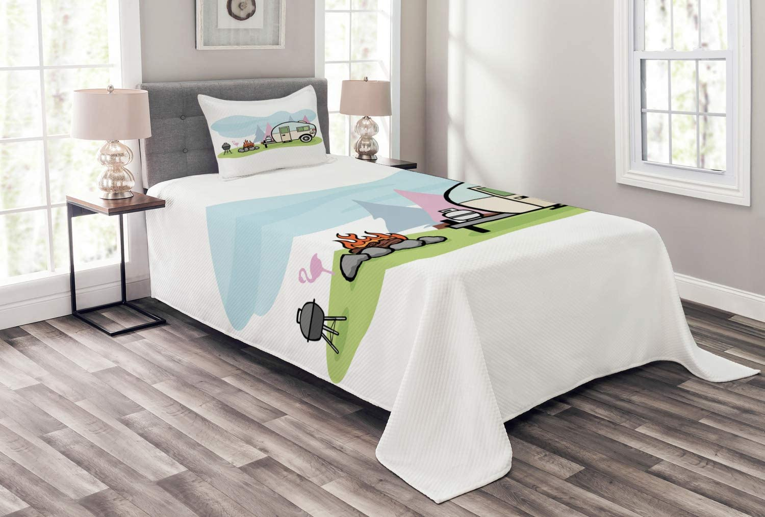 Ambesonne Travel Many popular brands Bedspread Cartoon Style a of Cheap mail order specialty store Design Camping Sc