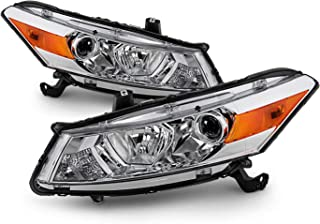 Fits 2008-2012 Honda Accord 2Door Coupe Chrome Halogen Type Headlamps Driver+Passenger Headlights Pair