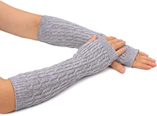 Flammi Women's Cozy Wool Knit Arm Warmer Cable Knit Fingerless Gloves Mittens with Thumbhole
