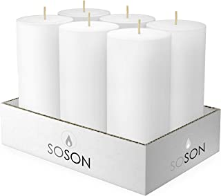 Simply Soson 3 x 6 Inch White Unscented Pillar Candle Bulk Set - Dripless, Scent Free Paraffin Wax Candle Pillars - Medium Size Wedding or Home No Drip Candles - 6 Pack
