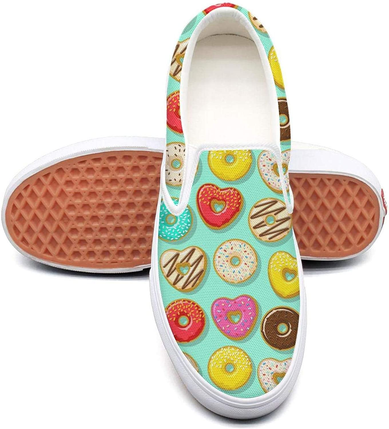 Lalige Pink red Mint Green Donut pop Heart Women Casual Canvas Slip-ONS Sneakers shoes