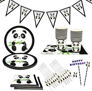 Panda Party Supplies Set,Party Tableware for Kids,Includes Table Cloth Cake Topper Banner 7