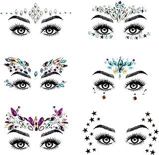 URAQT Face Gems Glitter, 6 stuks Strass Gezichtsjuwelen, Kristallen Gezichtsstickers voor Ogen, Zelfklevende Tijdelijke Bo...