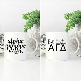 Promini Novelty Ceramic Cup, Alpha Gamma Delta Mug, Agd Script Coffee Cup, A G D Sorority Coffee Mug, Alpha Gam Ceramic Mug, Alpha Gamma Delta Gift, But First Agd 11oz White Mug