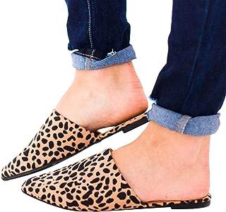 FISACE Womens Backless Slip On Pointed Toe Flat Sandals Low Heel Mule Dress Loafer Slide Slipper Shoes