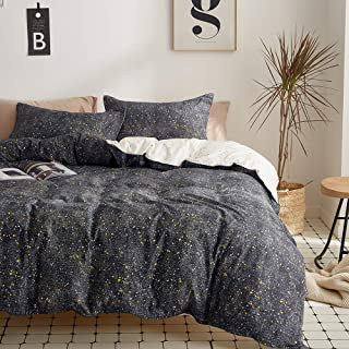 Joyreap 3 Pieces Cotton Black Universe Duvet Cover Set, Dark Mysterious Boundless Galaxy Night Duvet Cover with Zipper & Corner Ties, Soft Breathable Bedding Set for Adults (Full/Queen, 90x90 inches)