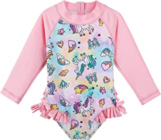 ملابس سباحة XFGIRLS للأولاد الصغار من قطعتين بأكمام قصيرة وسروال زهري 6-12 Months
