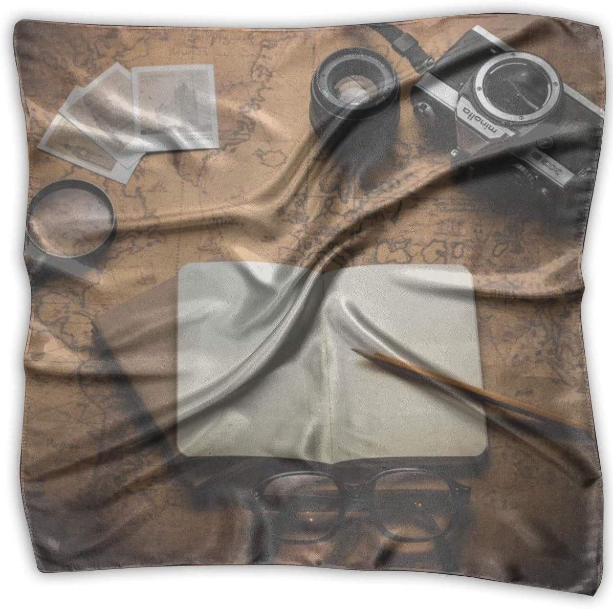 YANGZXC Vintage Style Old World Map Photo Cameras Handkerchief Polyester Pocket Square Mulipurpose Silk Bandanas Delicate Printing