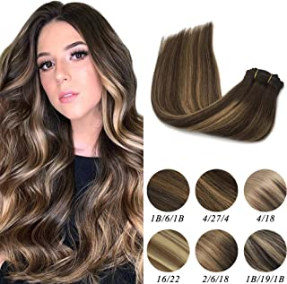 Labeh Clip In Hair Extensions Human Hair Chorcolate Brown To Caramel Blonde Ombre Clip In Hair Extensions 18inch 7pcs 120g Balayage Human Hair Extensions
