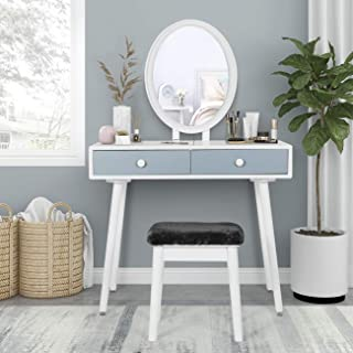 Vanity Desk Sets with LED Mirror and Bench Dressing Table with Lighted Mirror and Cushion Stool for Bedroom, Small Makeup ...