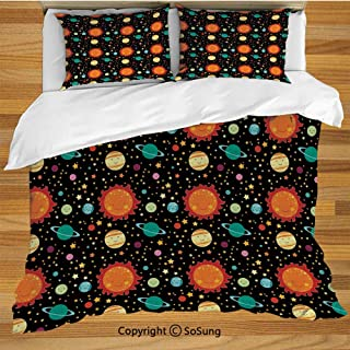 Space Queen Size Bedding Duvet Cover Set,Cute Celestial Elements Smiling Heavenly Bodies Sun Earth Saturn Jupiter with Stars Decorative Decorative 3 Piece Bedding Set with 2 Pillow Shams,Multicolor