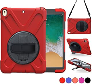 New iPad 5th/6th Generation Cases, iPad 9.7 2018/2017 Case, Hard Protective Cover With 360 Degree Stand, Handle Hand Grip & Carrying Shoulder Strap For Kids 9.7 Tablet Skin A1893/A1954/A1822/A1823 Red