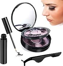 Magnetic Eyelashes with Eyeliner,Magnetic Eyeliner Kit 3D Magnetic Eye Lash Set Reusable False Fake Lashes 2 Pairs Magnet Eyelashes Natural Full Eye,Waterproof & Glue-free