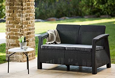 Keter Corfu Resin Wicker Loveseat with Outdoor Cushions – Patio Furniture Perfect for Front Porch Décor and Poolside Love Sea