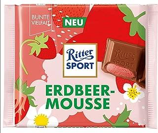 Ritter Sport Strawberry Mousse Chocolate Bar Candy Original German Chocolate 100g/3.52oz