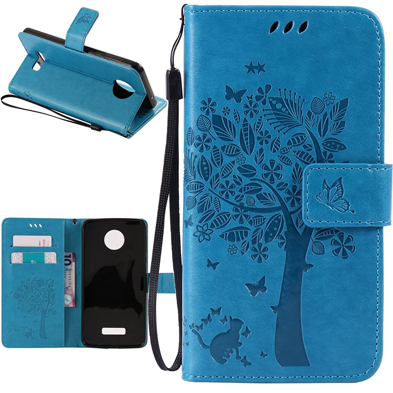 Moto Z Force Case, Harryshell(TM) Caving Tree Kickstand Flip PU Wallet Leather Protective Case Cover with Card Slot & Wrist Strap for Motorola Moto Z Force Droid (Blue)