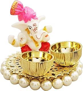 W Weblytech Ganesha Thali with White Moti Diwali Pooja Thali Tilak Decorative Platter Set, Laxmi/Ganesh Pooja