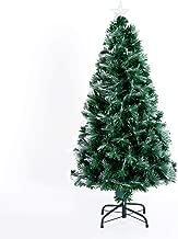 HOMCOM Árbol de Navidad 120cm Artificial Árboles con 130 Luces LED 7 Colores y Estrella Decorativa Brillante Árbol con Soporte Fibra Óptica