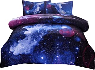 JQinHome Full/Queen 3-Piece Galaxies Dark Blue Comforter Sets - 3D Outer Space Themed - All-Season Down Alternative Quilted Duvet - Reversible Design - Includes 1 Comforter, 2 Pillow Shams