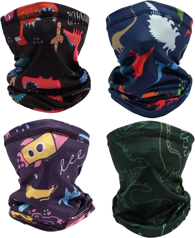 QualityS 4 Pack Kids Face Mask Mouth Cover Bandanas Neck Gaiter Headband Dust Block Balaclavas UV Sun Protection Scarf