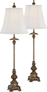Juliette Traditional Buffet Table Lamps Set of 2 Antique Gold Ornate Base White Bell Shade for Dining Room - Regency Hill