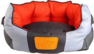GiGwi Place Soft Bed Canvas, Light Gray/Orange, Medium, 8325
