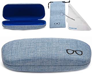 Hard Eyeglass Sunglasses Case, Polemax Linen Fabric Glasses Protective Case for Medium Eyeglasses Frame Sunglasses