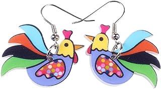 Bonsny Drop Chicken Earrings Acrylic Big Long Dangle Earrings 2016 News Brand Fashion Jewelry