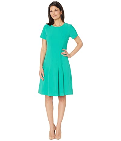 Tahari by ASL Short Sleeve Stretch Scuba Crepe Fit-and-Flare Box Pleat Dress Women