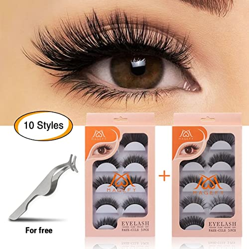 ef8d5446e7b MAGEFY 10 Pairs Fake Eyelashes Reusable 3D Handmade False Eyelashes Set for  Natural Look with False