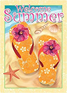 ALAZA Welcome Summer Flip Flop On Beach Double Sided Garden Yard Flag 12