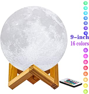 Diameter 9 Inch Moon Lamp with Stand, 3D Printing Moon Light, The Moon Night Light with LED 16 Colors, Touch Control and Remote Control.