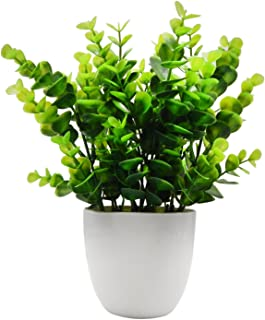 OFFIDIX Mini Artificial Eucalyptus Plants with Vase for Office Desk,Fake Plant with..