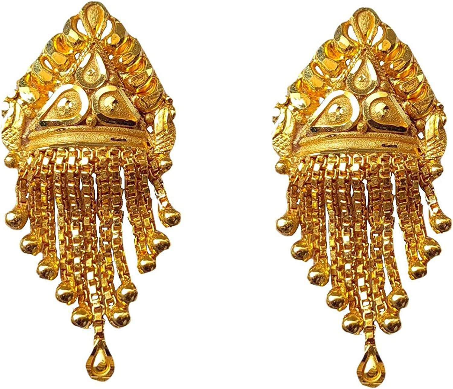 Certified Solid 22K/18K Yellow Fine Gold Elegant Chain Design Earrings Available In Both 22 Carat And 18 Carat Fine Gold, For Women,Girls,Kids,Gifts,Bridal,Wedding,Engagement & Celebrations