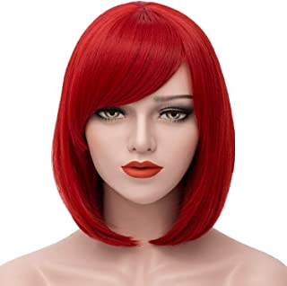 Mersi Short Bob Wig Red Wigs Women Cosplay Wig Straight Costume Wigs Girls Wigs Oblique Bangs Wigs 12 Inch with Wig Cap S009R