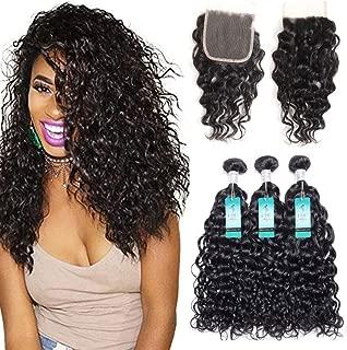 Water Wave Human Hair Bundles with Closure, UDU Malaysian Ocean Wave Wet & Wavy Bundle Deals Human Hair Weave Extensions Remy Hair Bundles Malaysian Water Curly Hair 100g/bundle