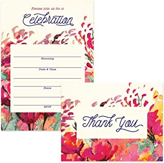 All Occasion Invitations (100) & Thank You Cards (100) Matched Set with Envelopes Large Family Office Church Celebration Birthday Retirement Fill-in Invites & Folded Thank You Notes Best Value