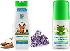 Mamaearth dusting Powder with Organic Oatmeal & Arrowroot Powder 150g & After Bite Roll On for Rashes & Mosquito Bites with Lavander & Witchhazel, 40ml Combo